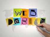 Hand  drawing web design on sticky note and world map background — Stock Photo