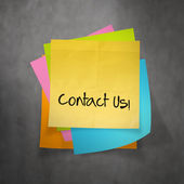 """contact us"" text on sticky note paper — Stockfoto"