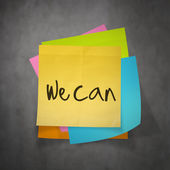 """""""we can"""" text on sticky note paper on wall texture — Stock Photo"""