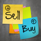 """""""sell buy"""" text on sticky note paper on wall texture as concept — Stock Photo"""