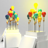 Pencil light bulb 3d as think outside of the box and leadership  — Stock Photo