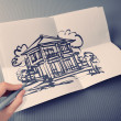 Hand drawing house on white folding paper background vintage sty — Foto Stock #51378973