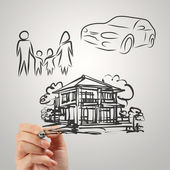 Hand draws planning family future as concept  — Stock Photo