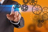 Businessman hand draws gear to success  — Stock Photo