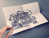 Hand drawing house on white folding paper background vintage sty — Stock Photo