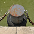 Metal ship mooring with bumper — Stock Photo