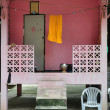 Unseen a pink Thai  s monk hut — Stock Photo