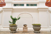 Chinese flowerpots with plants in Thailand s temple — Stock Photo