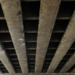 Urban view: under concrete bridge — Stock Photo