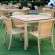 Rattans dinner tables green yards — Stock Photo