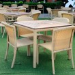 Rattans dinner tables green yards — Stock Photo #32492599