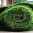 Old grass mat rolling prepare to proceed. — Stock Photo