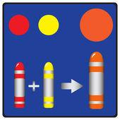 шаг 1: основной цвет, смешивая быть оранжевый — Cтоковый вектор