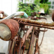 Antique and damaged bicycle  — Stock Photo