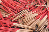 Stack used joss-sticks in temple — Stock Photo