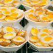 Thai sweetmeat made from small eggs put in bowl foam. — Foto de Stock