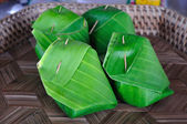 Sticky Rice packed by banana leaf. — ストック写真