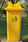 Yellow public bin — Stock Photo