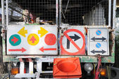 Traffic signs hanging together — Стоковое фото