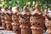 Many baked clay lamps arranging — Стоковое фото