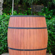 Outdoor, wooden beer barrel for party — Stock Photo #38805037