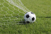 Classic ball pattern with football-net, GOAL. — Stock Photo