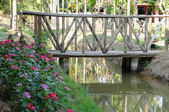 Old wooden bridge cross small canal — Stock Photo