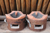 Double clay stove. — 图库照片