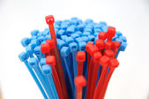 Blue and red cable ties — Stock Photo