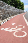 Bicycle lane with arrow direction — Stock Photo