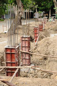 Iron formwork concrete foundation — Stock Photo