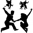 Stock Vector: Retro dancers in silhouette