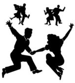 Retro dancers in silhouette — Stock Vector