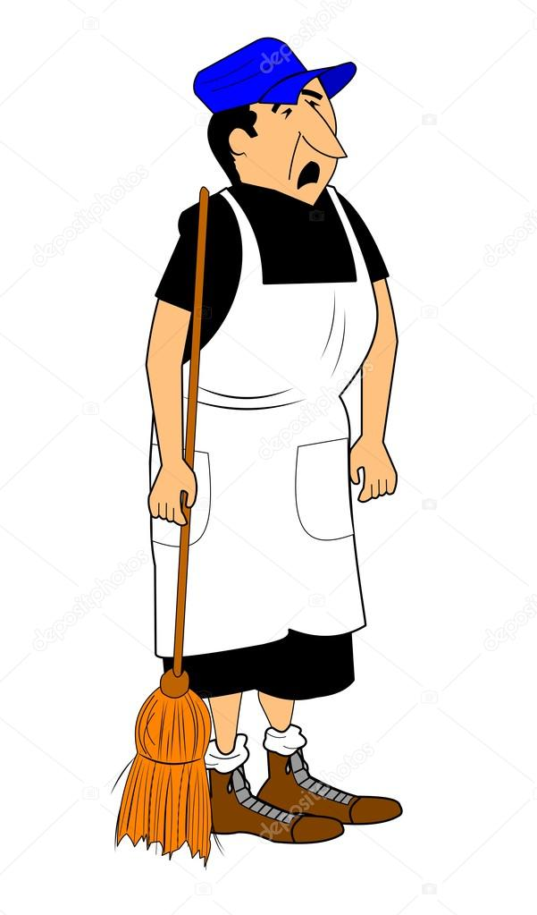 Man dressed in dress holding mop with sour face complaining he has to do house cleaning  — Stock Vector #16930305
