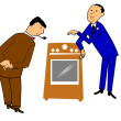 Salesman selling appliance — Stock Vector