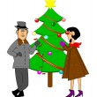 Decorating the christmas tree — Stockvektor