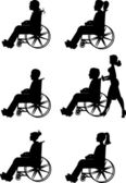 Men and women in wheelchairs — ストックベクタ