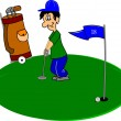 Stock Vector: Golfer on green