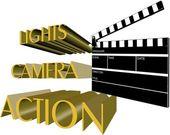 Lights camera action — Stock Vector