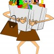 Vector de stock : Lady trying to carry groceries