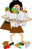 Lady trying to carry groceries — Vector de stock