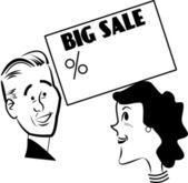 Big sprzedaży na i żona kocha — Wektor stockowy