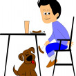 Stock Vector: Boy feeding his dog