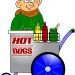 Hot dog vendor — Stock Vector