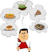 Retro man dreaming of food — Stock Vector