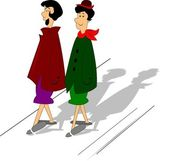 Two women going shopping — Vector de stock