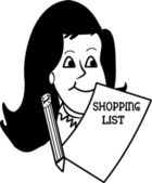 Lady with her shopping list — Stockvector
