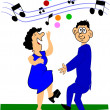 Older couple dancing - Stock Vector