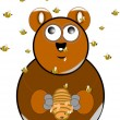 Lil bear holding honey hive — Vector de stock #17616483