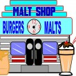Stock Photo: Retro malt shop illustration on white